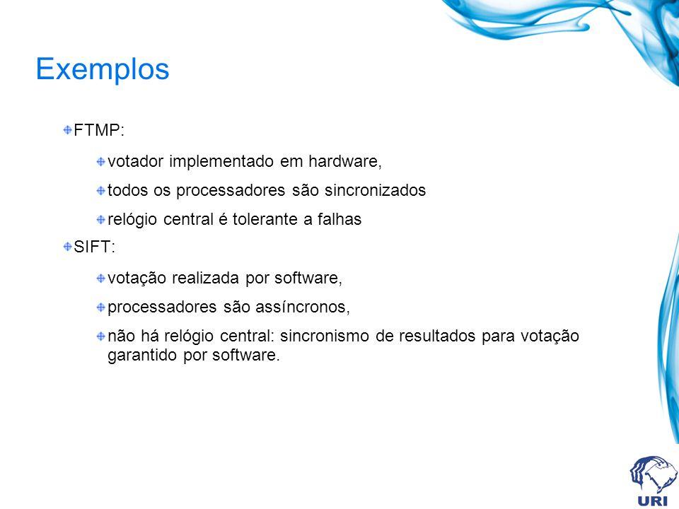 Exemplos FTMP: votador implementado em hardware,