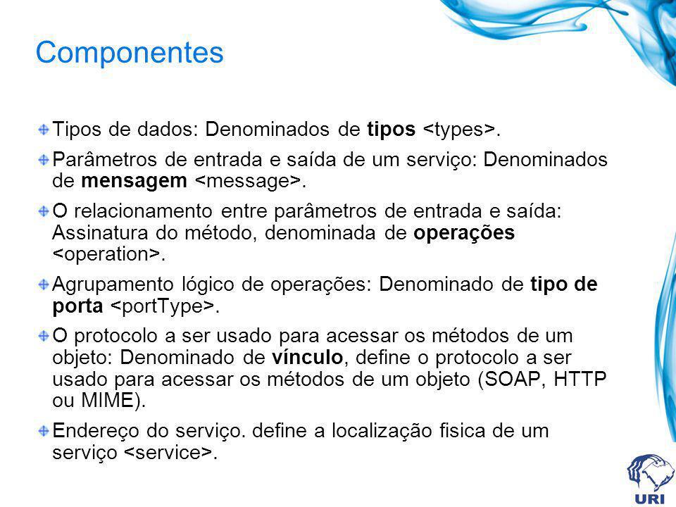 Componentes Tipos de dados: Denominados de tipos <types>.