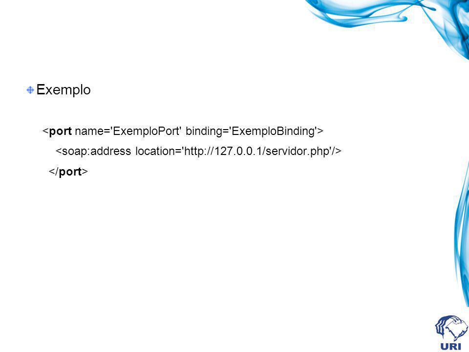 Exemplo <port name= ExemploPort binding= ExemploBinding >