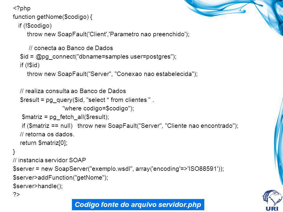 Codigo fonte do arquivo servidor.php