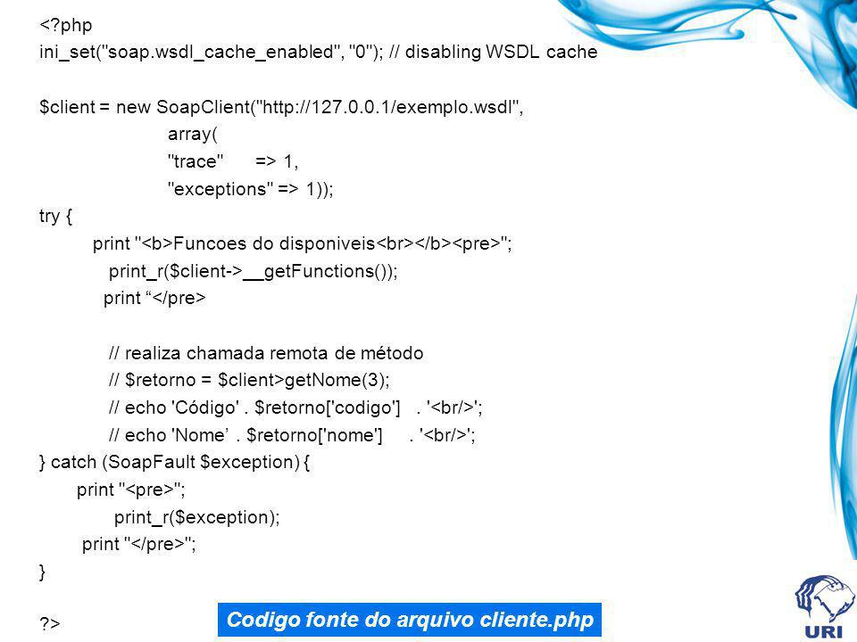 Codigo fonte do arquivo cliente.php