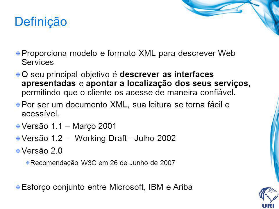 Definição Proporciona modelo e formato XML para descrever Web Services