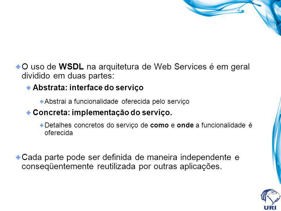 O uso de WSDL na arquitetura de Web Services é em geral dividido em duas partes: