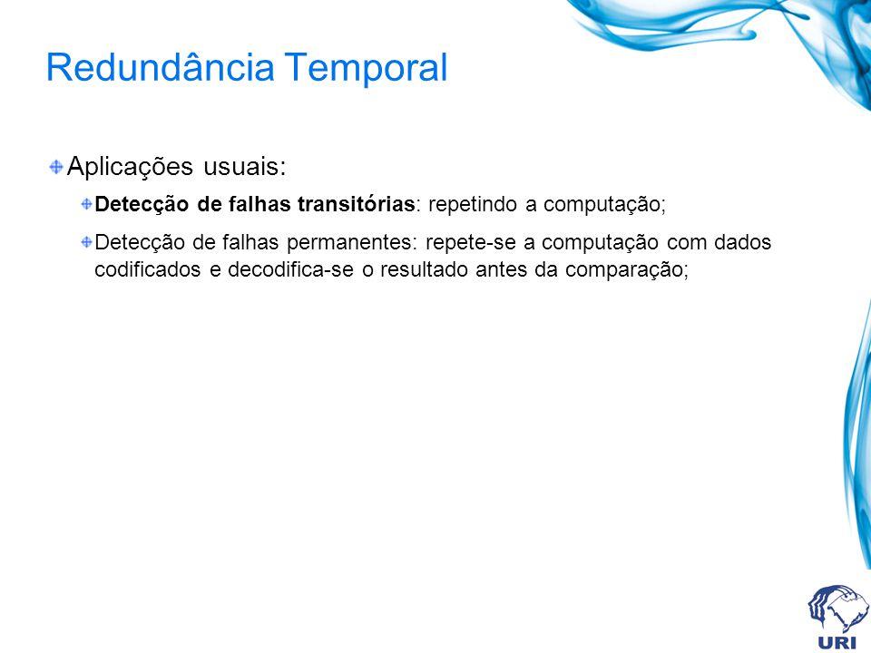 Redundância Temporal Aplicações usuais: