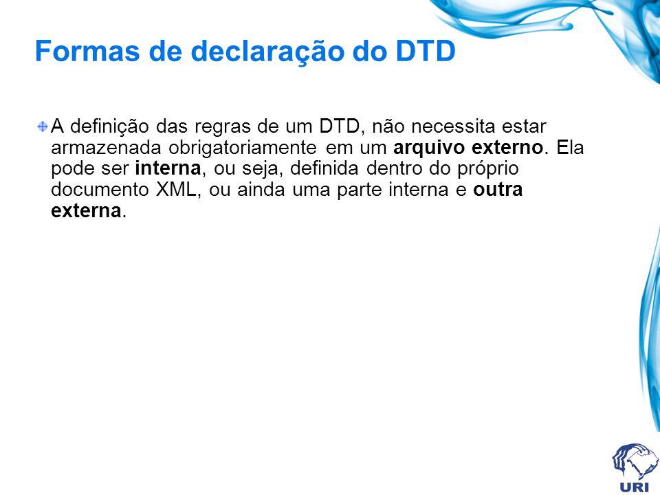 Formas de declaração do DTD