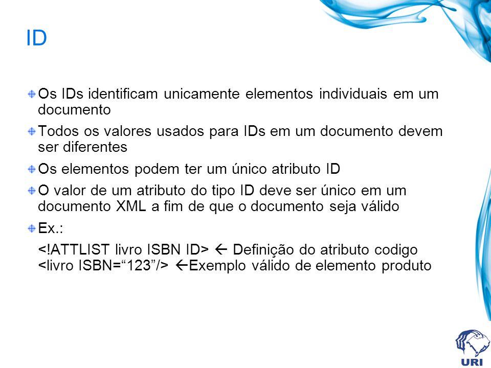 ID Os IDs identificam unicamente elementos individuais em um documento