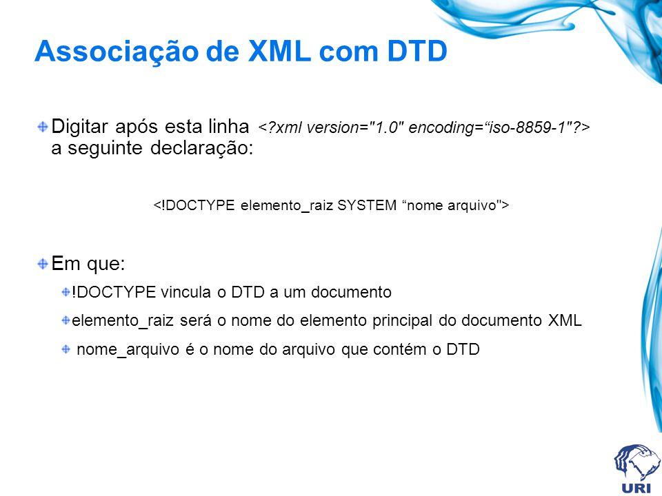 Associação de XML com DTD