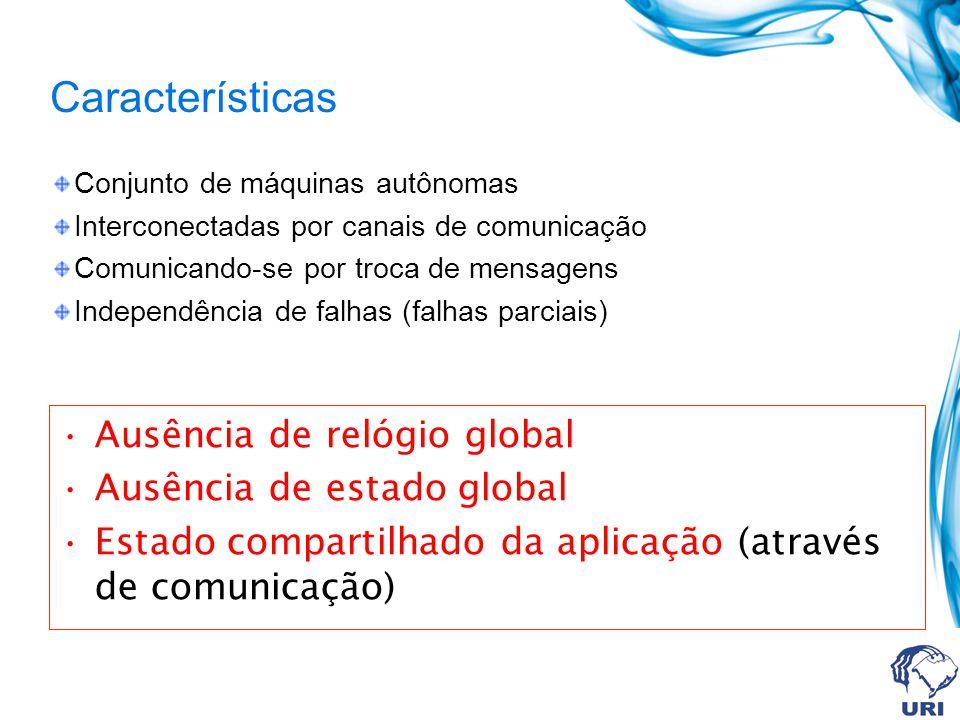 Características Ausência de relógio global Ausência de estado global