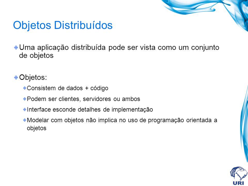 Objetos Distribuídos Uma aplicação distribuída pode ser vista como um conjunto de objetos. Objetos: