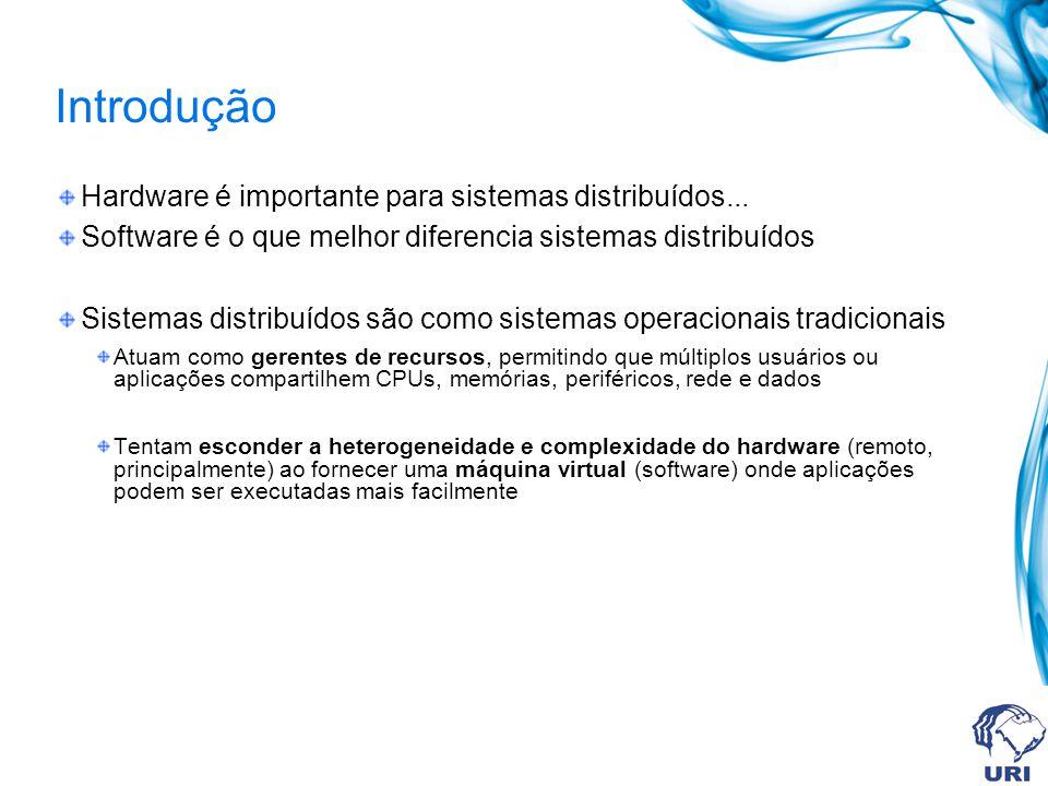 Introdução Hardware é importante para sistemas distribuídos...
