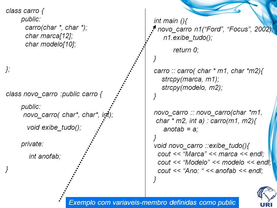 class carro { public: carro(char. , char. );