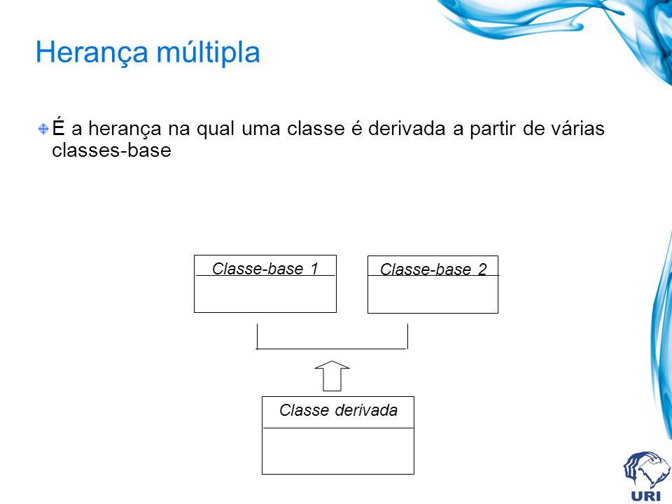 Herança múltipla É a herança na qual uma classe é derivada a partir de várias classes-base. Classe-base 1.