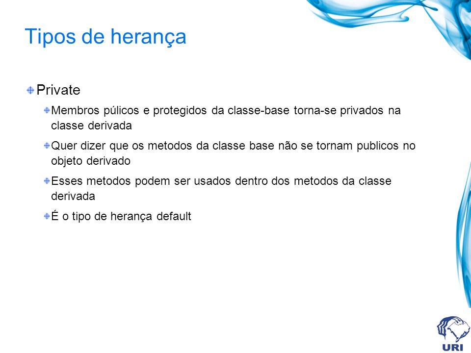 Tipos de herança Private
