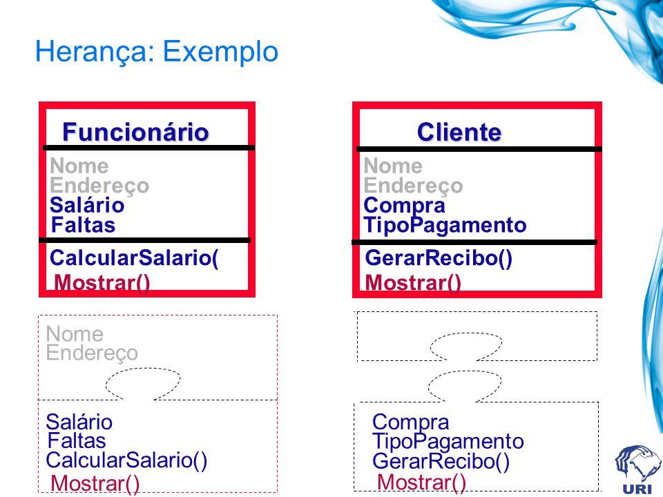 Herança: Exemplo Funcionário Cliente Salário Faltas Mostrar()