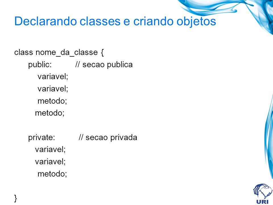 Declarando classes e criando objetos