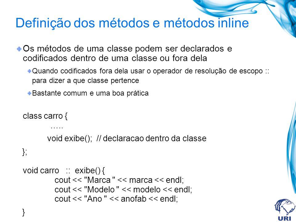 Definição dos métodos e métodos inline
