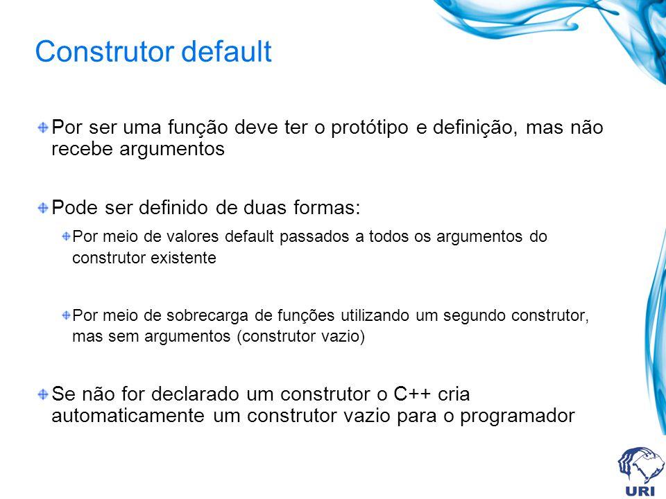 Construtor default Por ser uma função deve ter o protótipo e definição, mas não recebe argumentos.