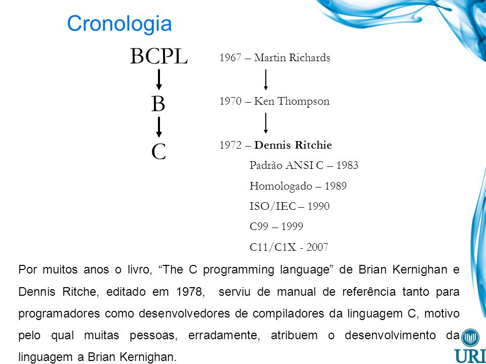 BCPL B C Cronologia 1967 – Martin Richards 1970 – Ken Thompson