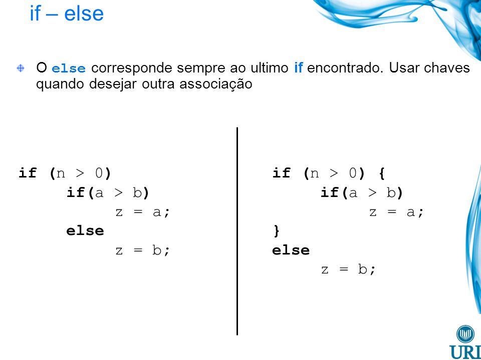 if – else if (n > 0) if(a > b) z = a; else z = b;