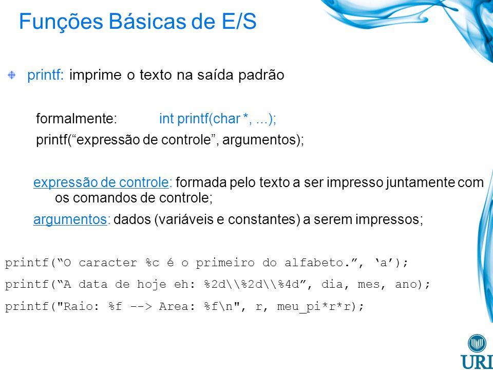 Funções Básicas de E/S printf: imprime o texto na saída padrão