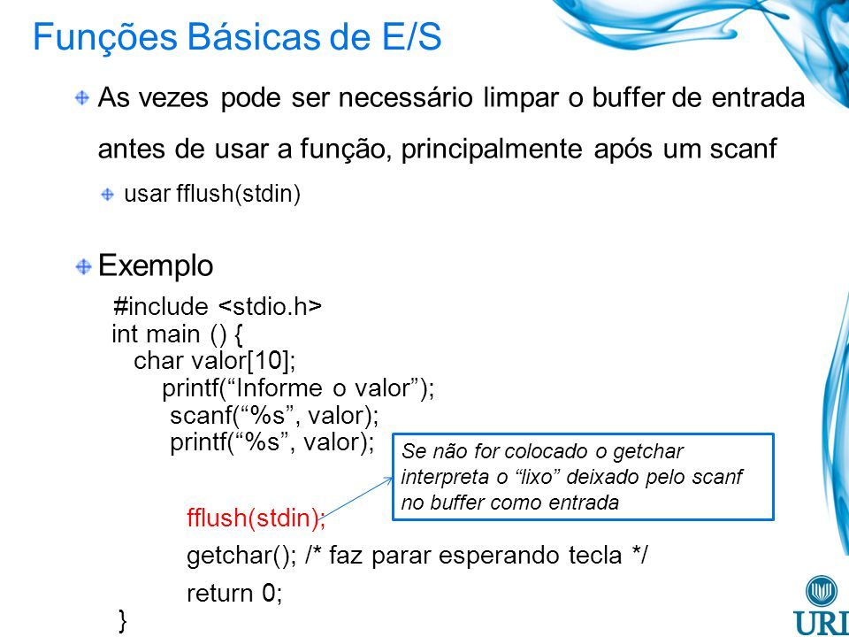 Funções Básicas de E/S Exemplo