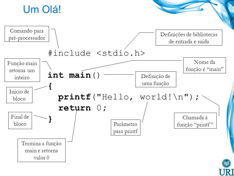 Um Olá! #include <stdio.h> int main() {