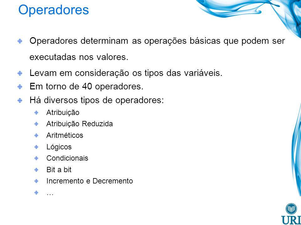 Operadores Operadores determinam as operações básicas que podem ser executadas nos valores. Levam em consideração os tipos das variáveis.