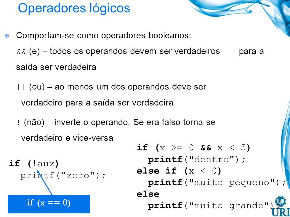 Operadores lógicos if (x >= 0 && x < 5) printf( dentro );