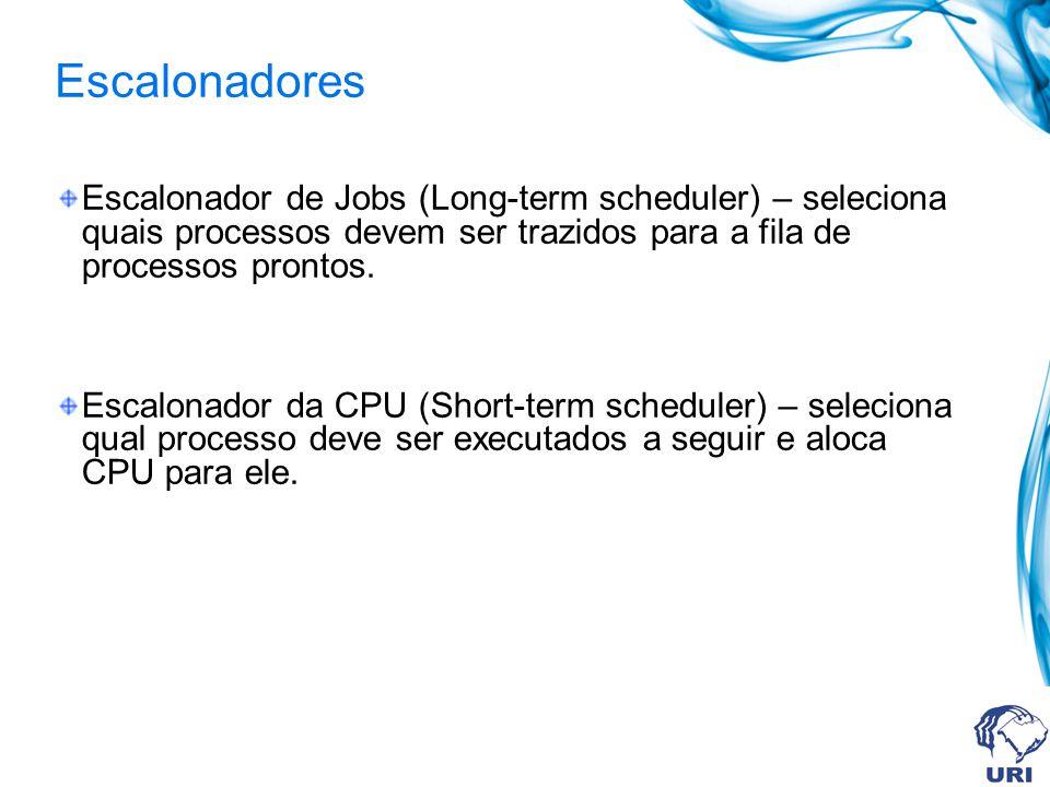 Escalonadores Escalonador de Jobs (Long-term scheduler) – seleciona quais processos devem ser trazidos para a fila de processos prontos.