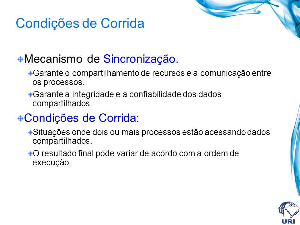 Condições de Corrida Mecanismo de Sincronização. Condições de Corrida: