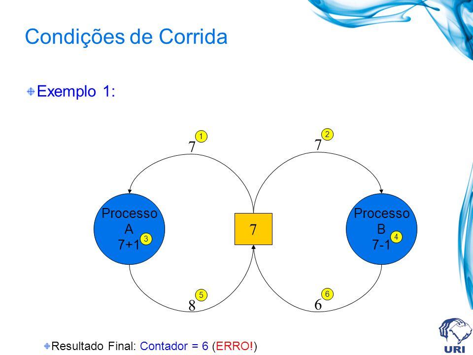 Condições de Corrida Exemplo 1: 7 7 7 8 6 Processo A 7+1