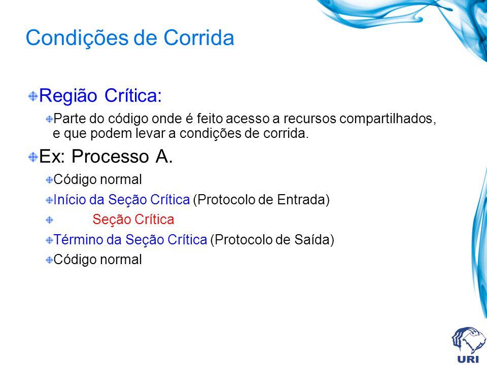 Condições de Corrida Região Crítica: Ex: Processo A.