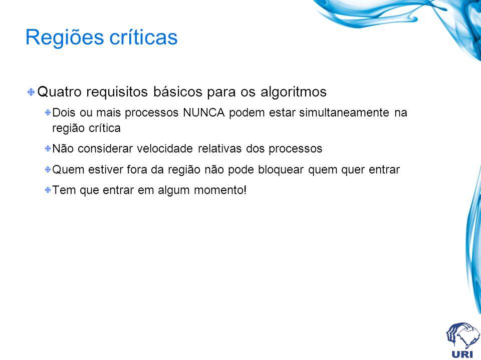 Regiões críticas Quatro requisitos básicos para os algoritmos