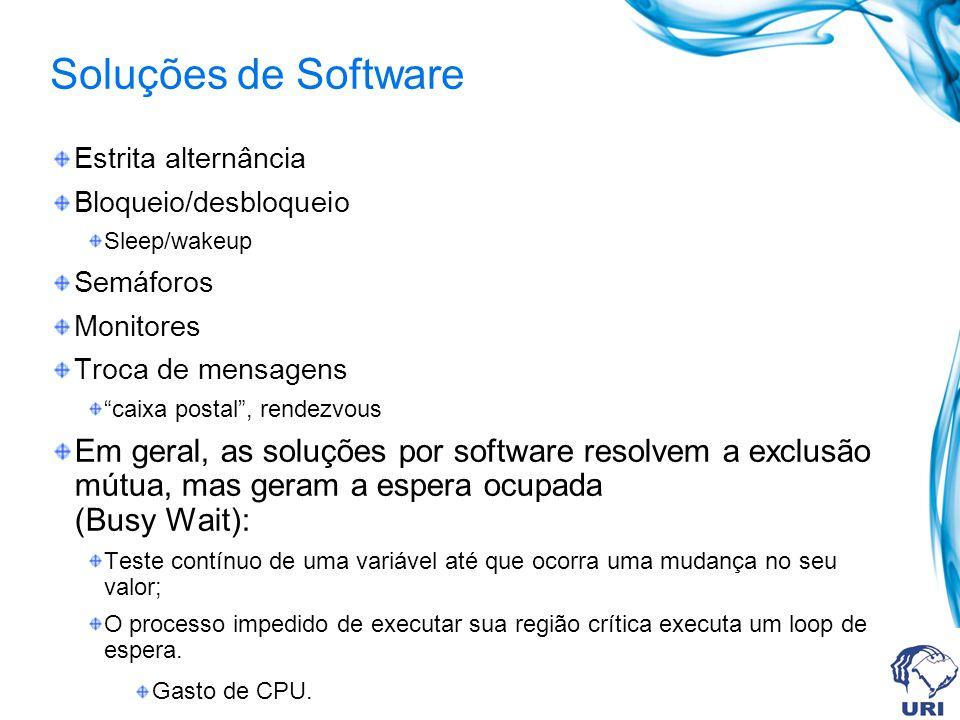 Soluções de Software Estrita alternância. Bloqueio/desbloqueio. Sleep/wakeup. Semáforos. Monitores.