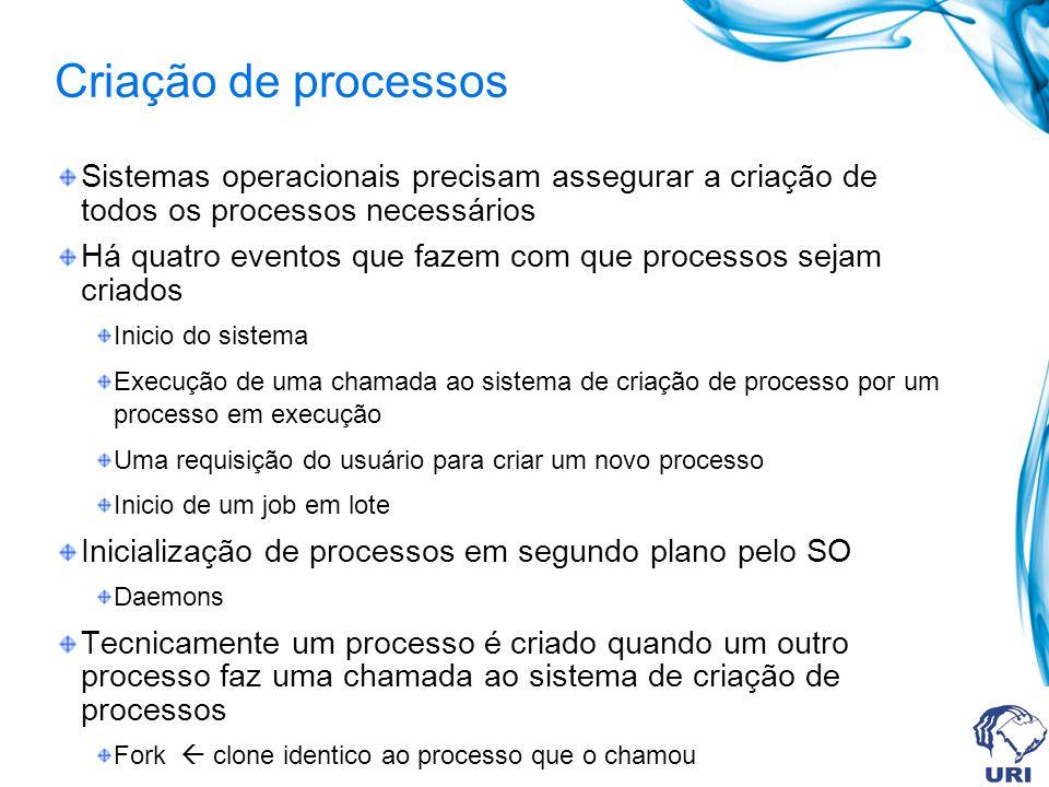 Criação de processos Sistemas operacionais precisam assegurar a criação de todos os processos necessários.
