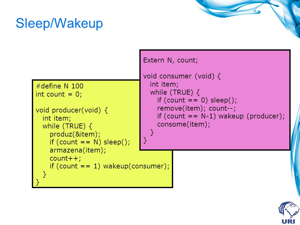 Sleep/Wakeup Extern N, count; void consumer (void) { int item;