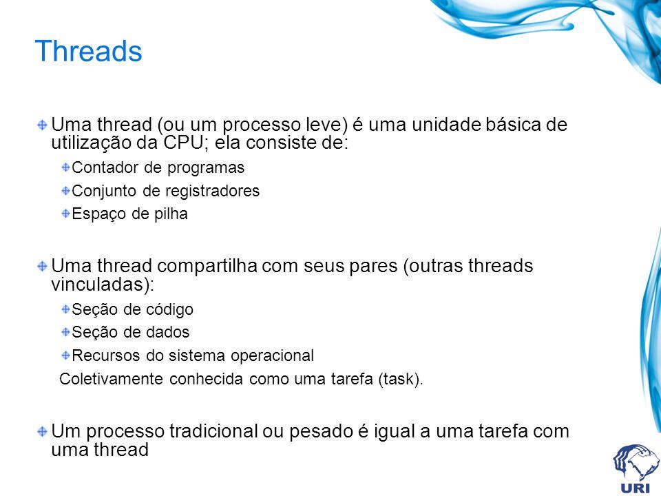 Threads Uma thread (ou um processo leve) é uma unidade básica de utilização da CPU; ela consiste de: