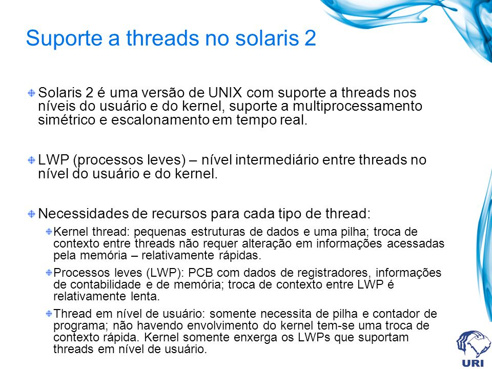 Suporte a threads no solaris 2