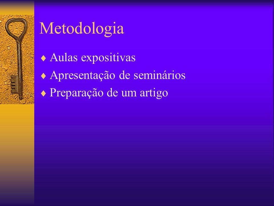 Metodologia Aulas expositivas Apresentação de seminários