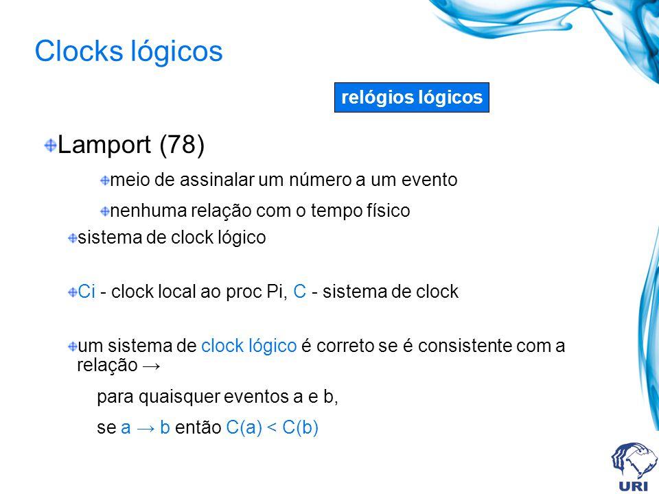 Clocks lógicos Lamport (78) relógios lógicos