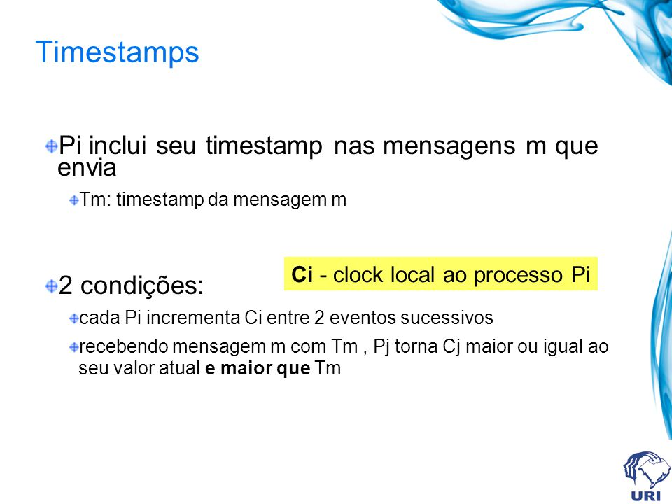Timestamps Pi inclui seu timestamp nas mensagens m que envia