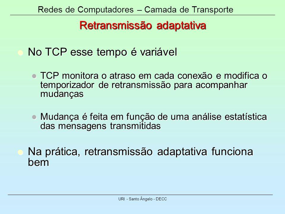 Retransmissão adaptativa No TCP esse tempo é variável