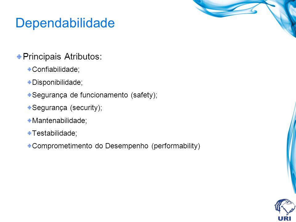 Dependabilidade Principais Atributos: Confiabilidade; Disponibilidade;