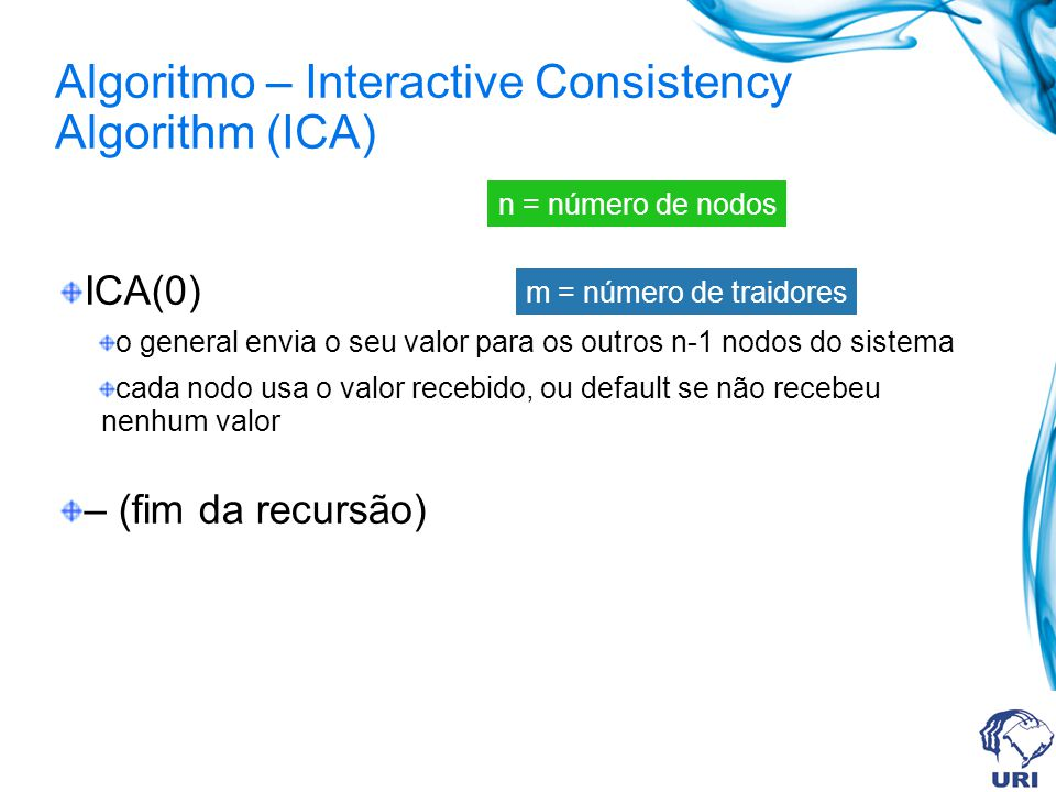 Algoritmo – Interactive Consistency Algorithm (ICA)