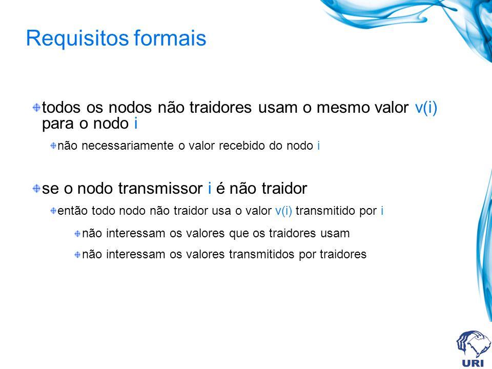 Requisitos formais todos os nodos não traidores usam o mesmo valor v(i) para o nodo i. não necessariamente o valor recebido do nodo i.