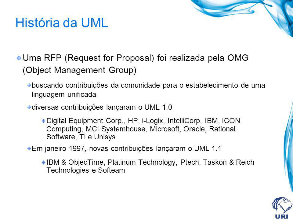 História da UML Uma RFP (Request for Proposal) foi realizada pela OMG (Object Management Group)