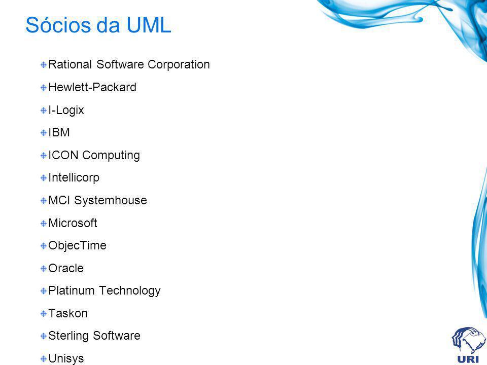 Sócios da UML Rational Software Corporation Hewlett-Packard I-Logix