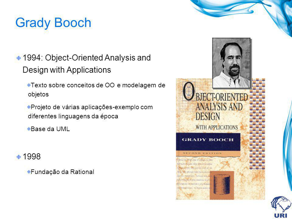 Grady Booch 1994: Object-Oriented Analysis and Design with Applications. Texto sobre conceitos de OO e modelagem de objetos.