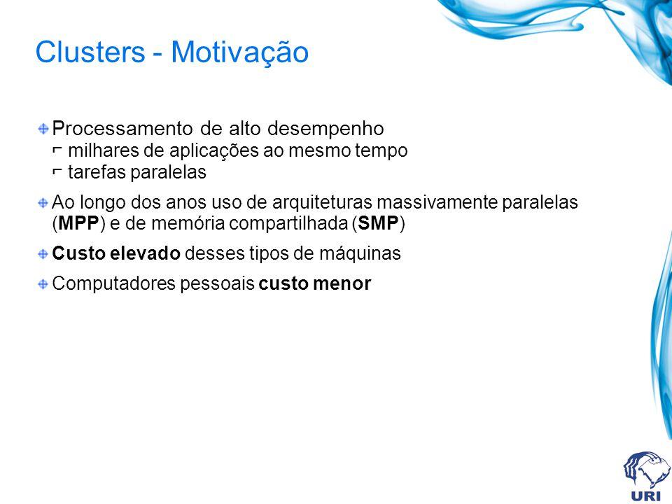 Clusters - Motivação Processamento de alto desempenho ⌐ milhares de aplicações ao mesmo tempo ⌐ tarefas paralelas.