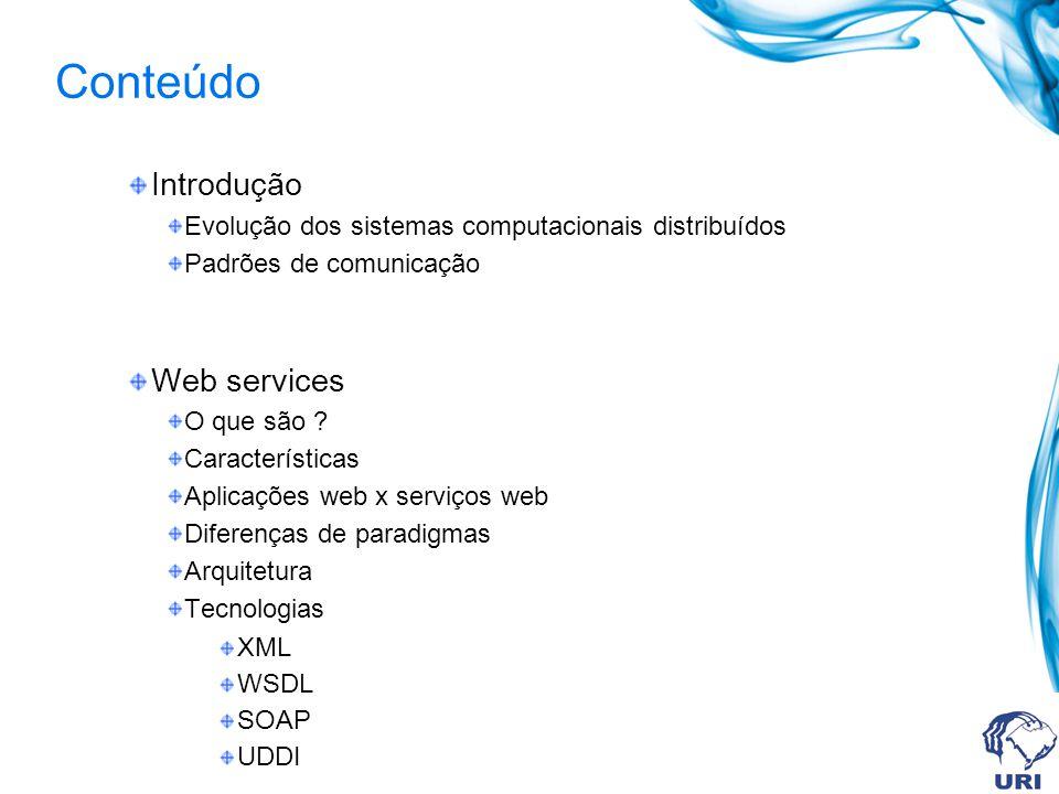 Conteúdo Introdução Web services SOA